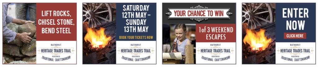 Hyper Hyper Marketing Bathurst Region Heritage Trades Trail Win Weekend Promotion Banners