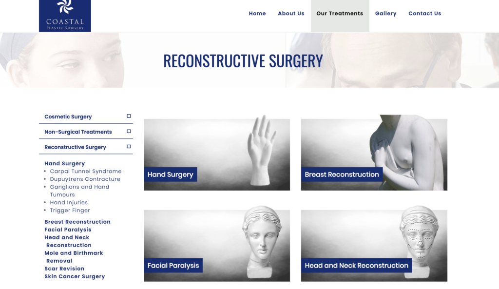 Hyper Hyper Marketing Coastal Plastic Surgery website Reconstruction page